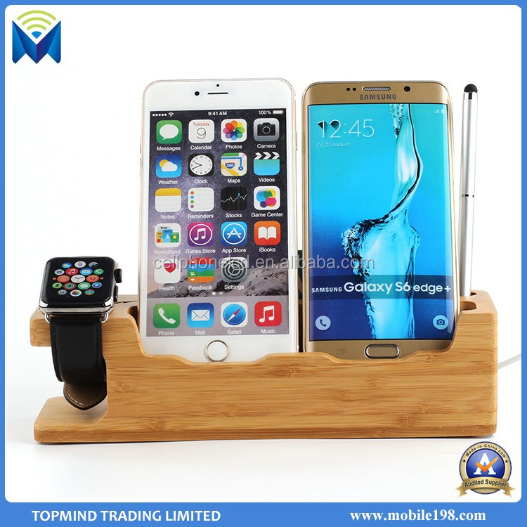 Wood Charger Station Docking Charging Station for Apple Watch iPhone and iPad