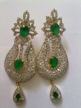 ZIRCON EXCLUSIVE DESIGNER EARRING WITH GREEN GEMSTONE Indian Wedding Bollywood