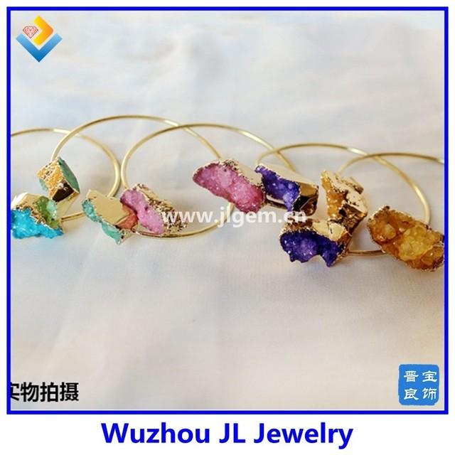 Wholesale alibaba Lucky natural rough crystal quartz bangle