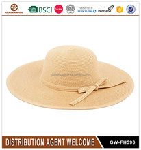 High quality summer girl wide brim straw beach floppy hat with bowknot