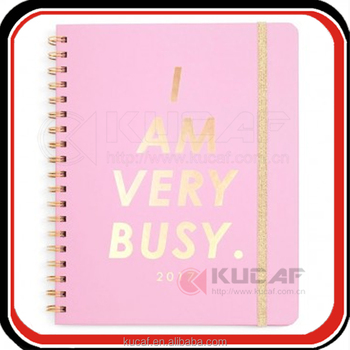 Custom rose gold hot stamping logo pink hardcover inspirational notebook 200 pages