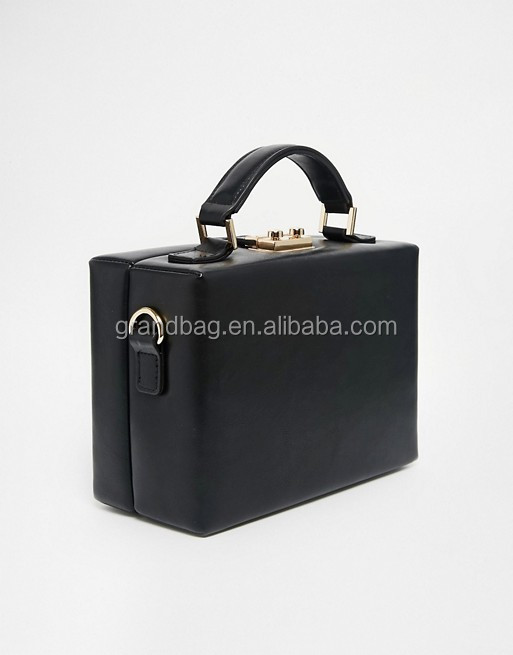 chic smooth leather structured box handheld handbag black case bag