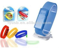 Promotional Silicion Wristband USB Flash Drive 2GB ,High quality Bracelet USB 2.0 flash memory with packaging