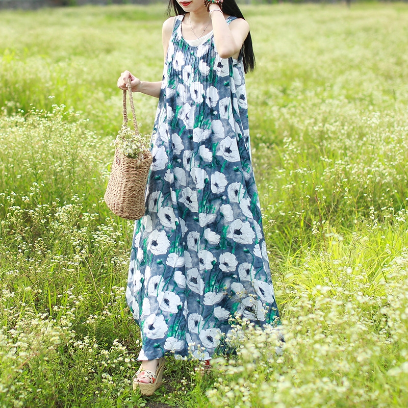 Women Floral Print Long Summer Sleeveless Maxi Dress