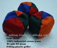 Cube Balls made by industrial jean cotton with logo