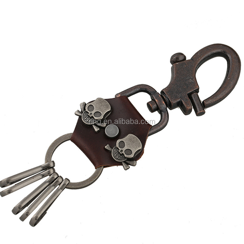 Vintage Skull Head keychain with Snap Shackle Stainless Steel Keyring Embossed leather keychain