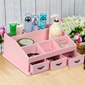 Pink Wooden Jewelry Display Cosmetic Storage Box For Make Up Gift