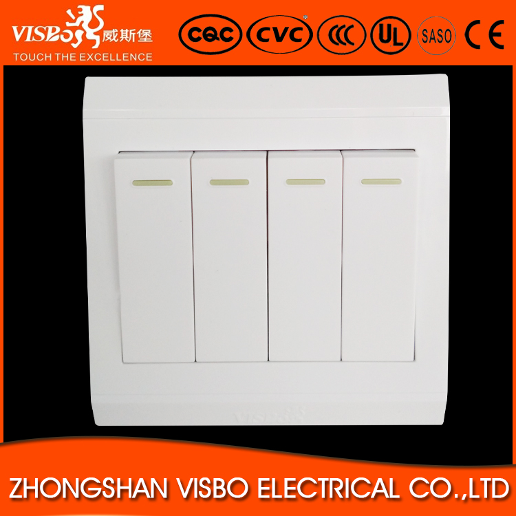 Visbo 250VAC 10A New design PC European 4 gang 1 way joystick light switch