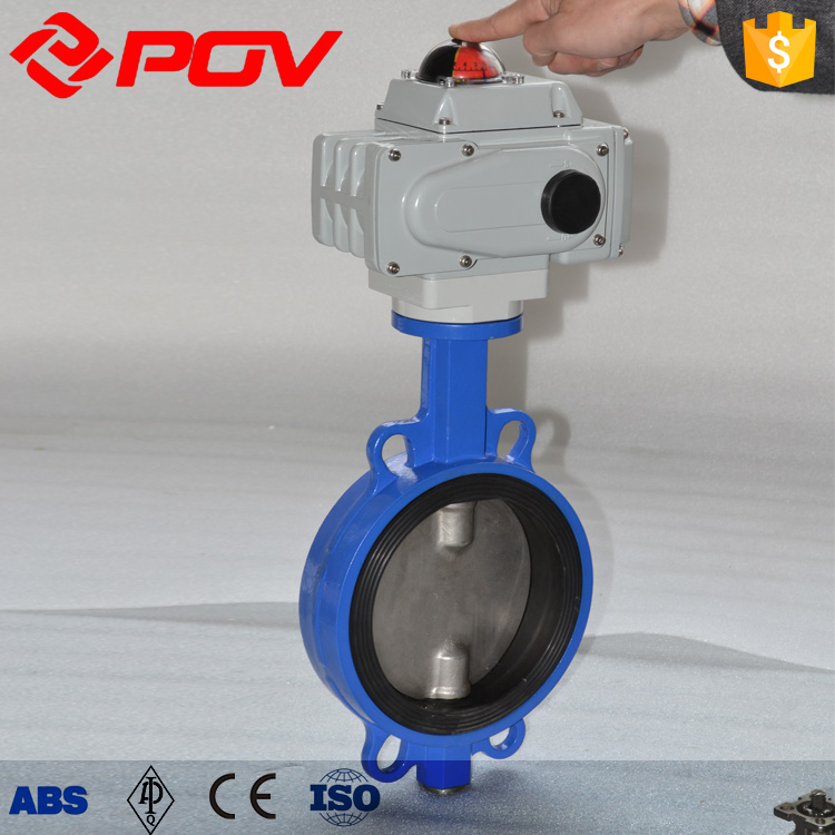 DN80 wafer electric actuator butterfly valve for steam