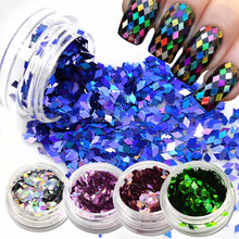 16Colors Laser Nail Art Nail Glitter Acrylic 3D Rhombus Glitter Shape Sequins Powder Set for Nail Decoration 3D Slice Powder Set