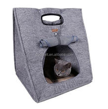 Three Usages Portable Outdoor Travel Foldable Kitten Beds Cave Cat Carrier Cat Bag Carrier