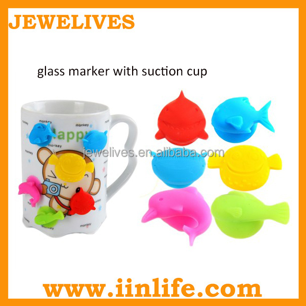 Bar accessory bpa free colorful wine glass marker silicone