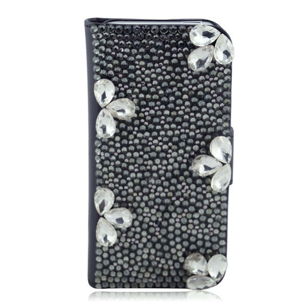 Black Bling Diamond Wallet Leather Phone Case For iPhone 5 5S Beatiful Design