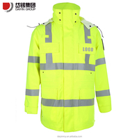 fluorescent yellow waterproof reflective safety work jacket