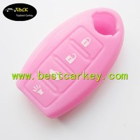 Good Price 3+1 buttons silicone key case in pink no logo car key case