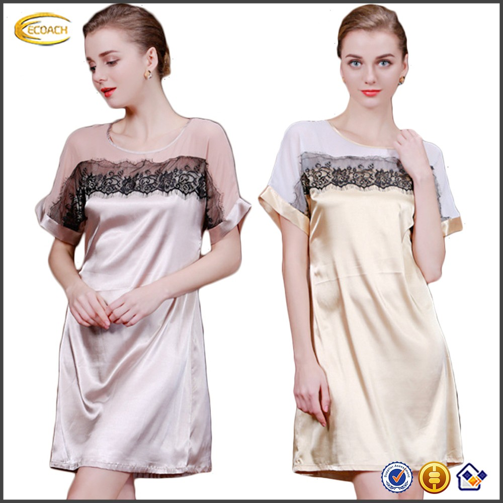 Ecoach Wholesale OEM Womens Sexy Satin Short Sleeve Drawstring Waistband See-Through Patch Lace Sleepwear