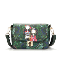 Women Purses Handbag Tote PU Leather Green Forest Printing Shoulder Bag