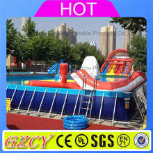 Customized Size Metal Frame Supported Swimming Pool / Stents Pool