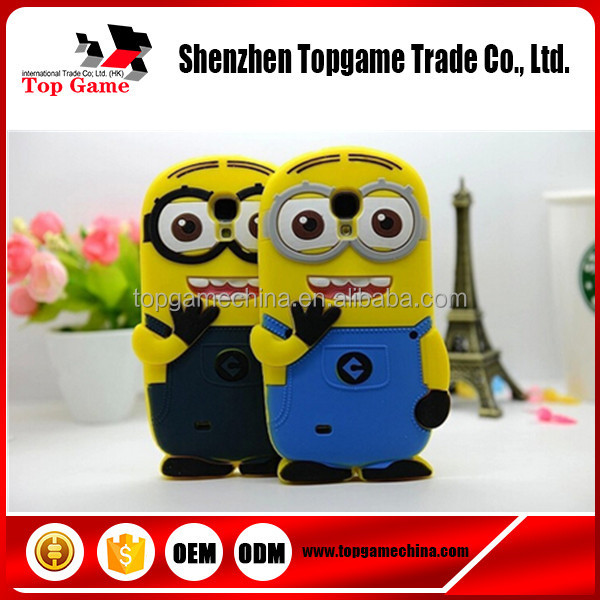 3d minions silicone case for Samsung Galaxy S4 Mini i9190 Case