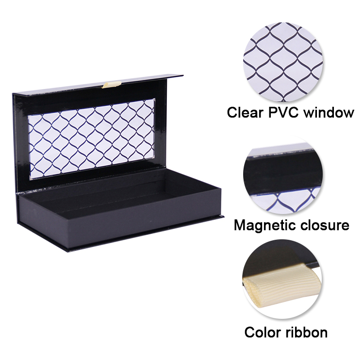 Custom black see through paper bow tie packaging gift box wholesale
