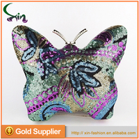 Latest handmade lovely shape metal framed purse sequin clutch ladies evening bag