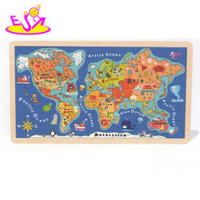Kids Super-quality education map puzzle,Learn part of world map 3d wooden puzzle,Cheap Wooden assembling puzzle toy W14C138