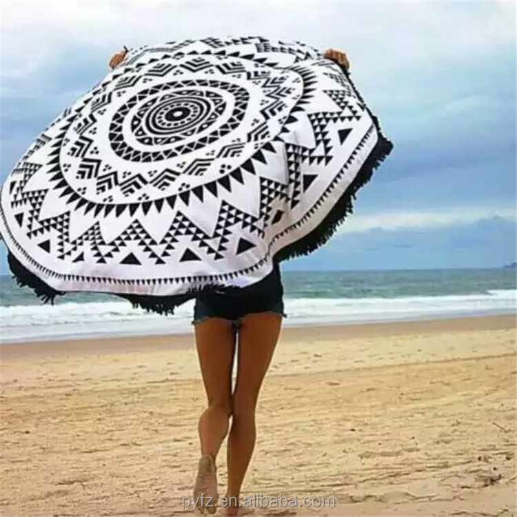 wholesale large mandala aztec tribe microfibre throw round beach towel with tassel