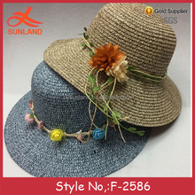 F-2586women wreath decorate colombian floppy straw hat mixed color fold sun hat
