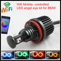 Wifi Phone controlled RGB color change led halo ring led marker H8 E39 E90 E92 32W RGBW led angel eyes for BMW E60 E87 E65