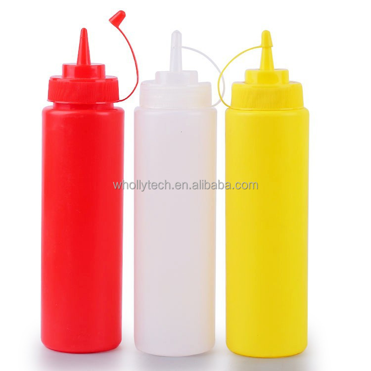 16 oz Clear Plastic Ketchup Squeeze Sauce Bottles with Screw Cap