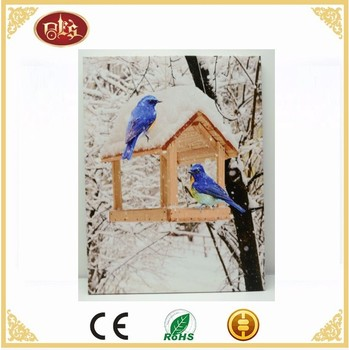 Blue Bird Wall Led Light Canvas Painting,Winter scenery Light Up Canvas