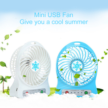 Hot sale 4 inch rechargeable air cooling USB mini fan with 6 LED light