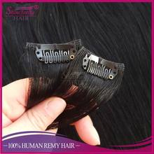 Hot sell double layers straight #1 color clip in hair extension full head set 200 grams clip in hair extensions