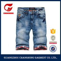 Casual Mens Washed Jeans Shorts Boys Cotton Soft Jeans Short Jeans Embroidery Back Pockets