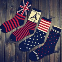 New Stockings Hosiery For Cotton Socks In The Sailor British Wind Flag Socks Wholesale Flag Middle Long Cotton Socks Unsex