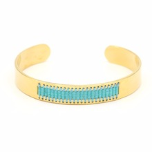 Fashion 18k gold plated miyuki beads Charm Bracelet Cuff Stainless Steel Women Bangle