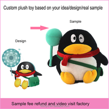 dropshipping QQ charactor custom stuffed penguin toy with handbag