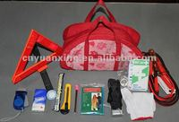 nice carry bag with car emergency tool, woman use of first aid kit