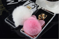 2016 new design lum mirror back with fur pom & butterfly cell phone cases mobile cover for iPhone 5 6 6 plus wholesale