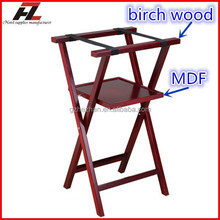 Hotel Mahogany Finished Folding Tray Stand with Shelf / Wooden Tray Stand