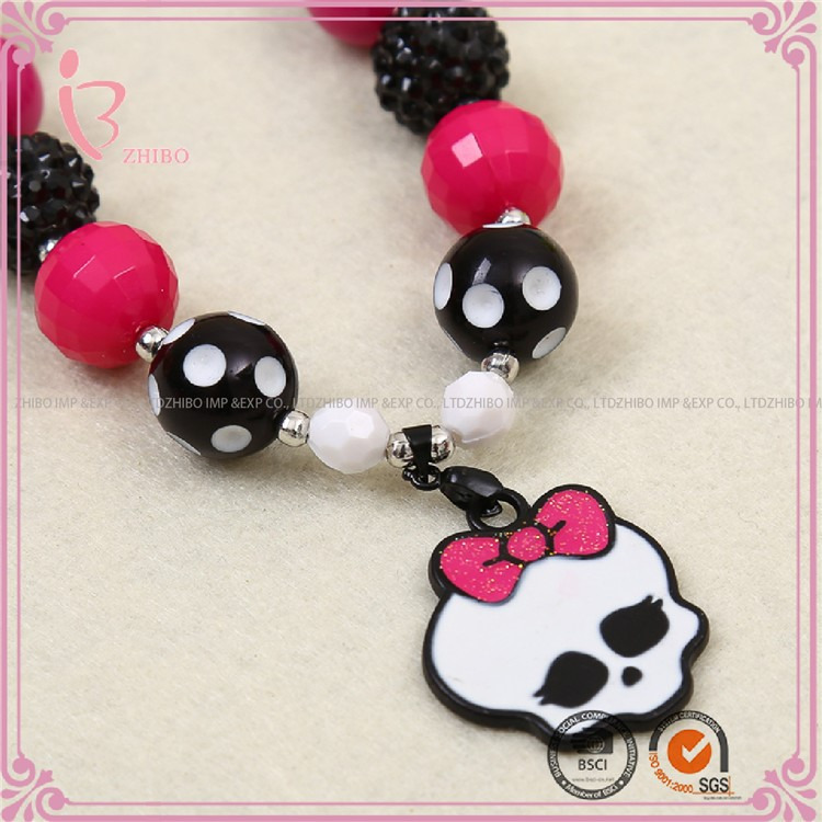 large skull heads children necklace beaded necklace