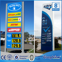 Standing large pylon sign petrol station digital signage display