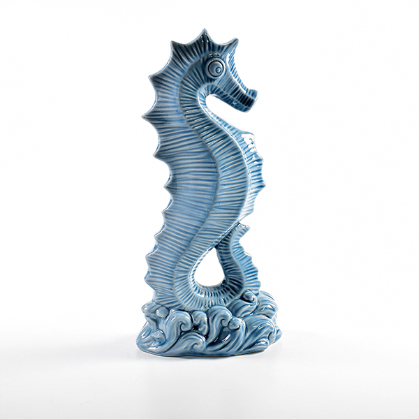 Chinese manufacture blue unpainted ceramic seahorse figurines for decoration