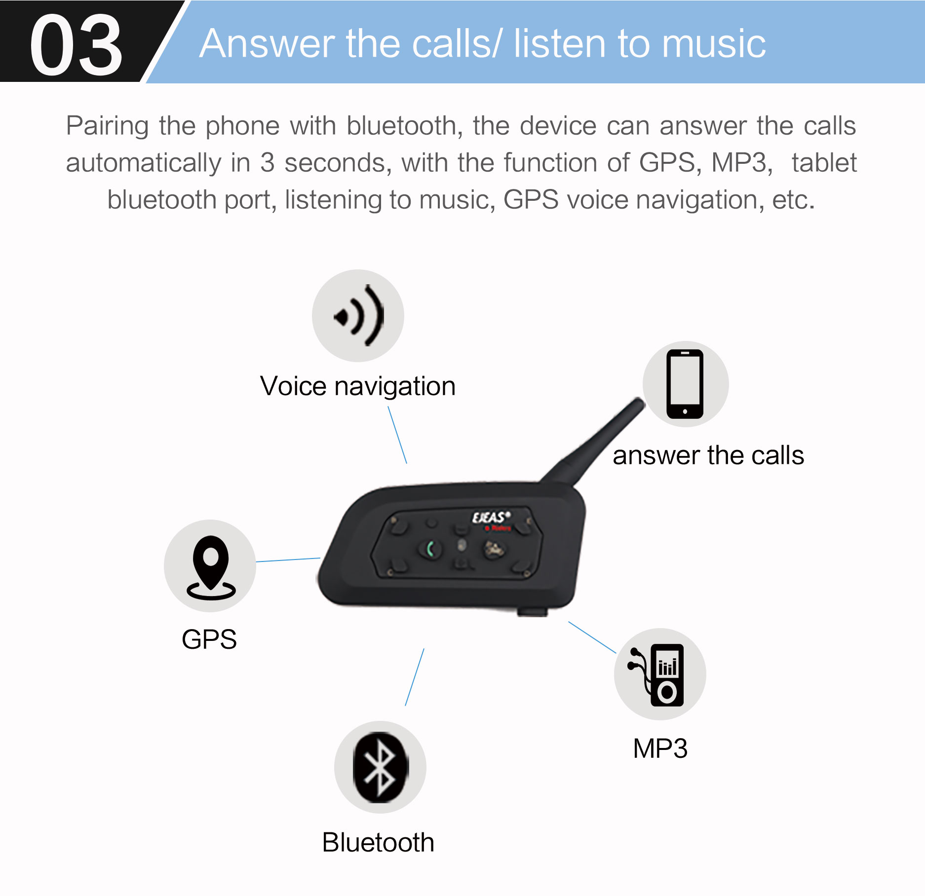 Motor Cycle Accessories Fm Radio Bluetooth Headset