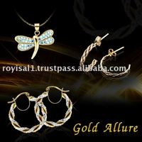Gold crystal earring, pendant ring jewelry