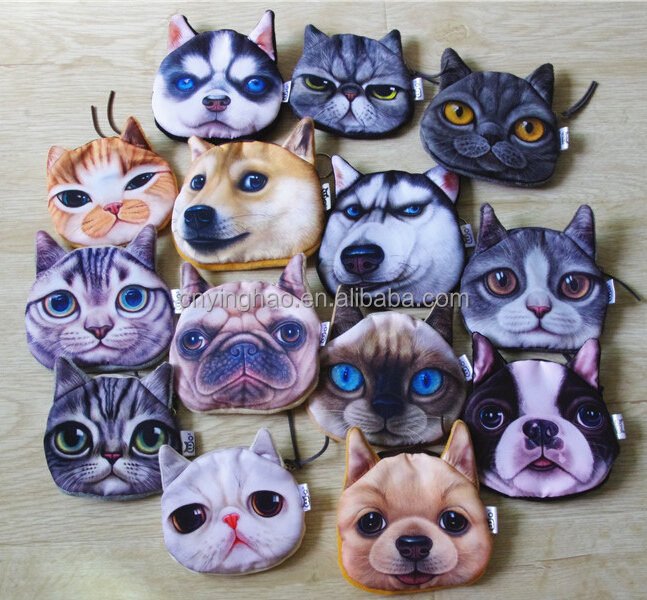 2016 New Style 3D Printed Cat/Dog Animals Shape Coin Plush Purse Cat Coin Purse