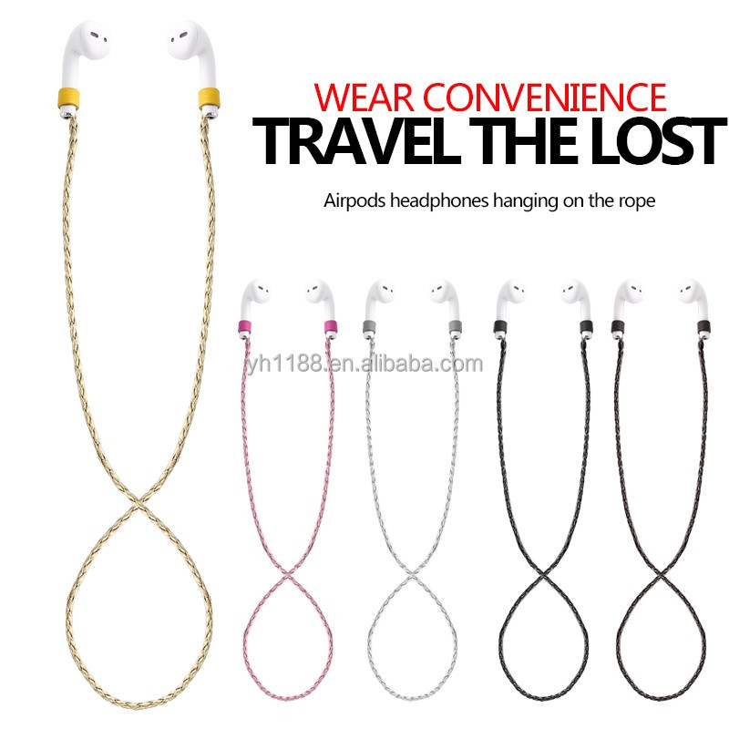 Fashion designed anti-lost neck loop string woven genuine leather rope strap for Apple Airpods