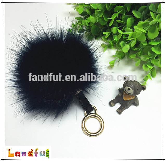 12 cm Fluffy charm faux fur pompom keychain handbag key Ring