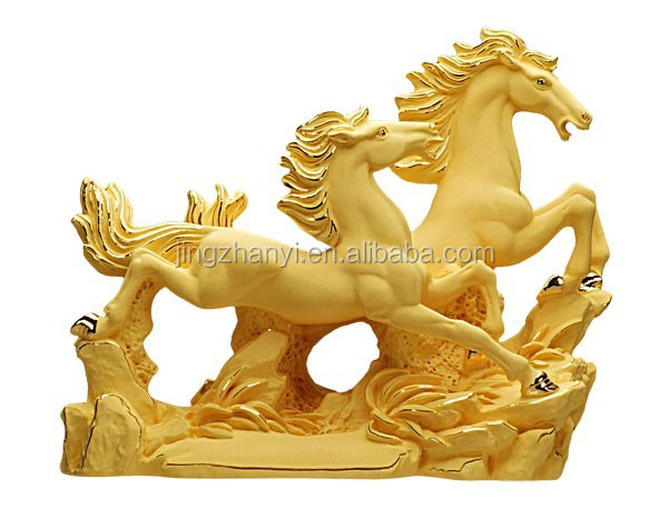 [Factory Promotion]Business Gifts/Presents ,24K Gold-plated Running double Horse Statue