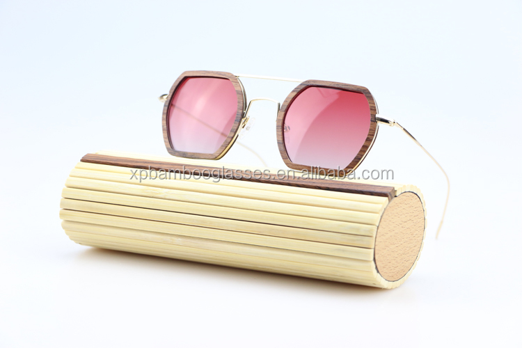 new arrivals 2108 unique smart gradient polarized lens gold frame rose wooden glasses